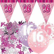 Pink Silver Girl Glitz 16th Birthday Flag Banner Party Decoration Pack Kit Set