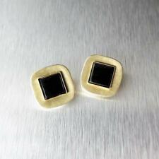 with Black Onyx Clip Earrings Modern! Marjorie Baer Small Brass Rounded Square