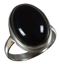 925 Solid Sterling Silver Ring Natural Black Onyx Gemstone H to Y UK Size JR63