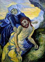 Van Gogh Pieta Repro II, Quality 100%  Hand Painted Oil Painting, 30x40in
