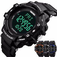 Military Sports Pedometer Chronograph Heart Rate Waterproof Men's Digital Watch