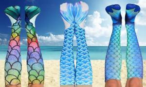 UK Women Ladies 3D Mermaid Print Socks High Knee Beach Cosplay Costume Stockings