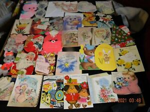 LOT #2 OF VINTAGE DIE-CUT/SHAPED GREETING CARDS - BIRTHDAY/CHRISTMAS/BABY & MORE