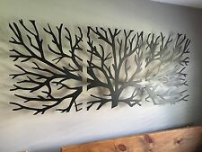 Metal Wall Art Decor 3D Sculpture 3 Pièces Arbre Brunch moderne cheminée