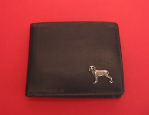 Weimaraner Dog Design Real Leather Dark Brown Wallet Mum Dad Wedding Xmas Gift