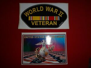 Set Of WORLD WAR II VETERAN And UNITED STATES MARINE CORPS Decal Stickers