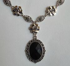 Camellia Filigrana Stile Vittoriano sfaccettato nero Acryl Argento Placcato Collana CF