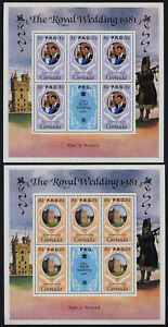 Grenada 1051a-3a Sheets o/p RPG MNH Prince Charles, Princess Diana Wedding