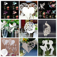 Chic 50Pcs Name Place Cards For Wedding Party Table Wine Glass Decoration
