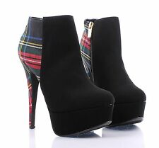 Black Multi Fashion Faux Leather Women High Heels Ankle Boots Shoes Size 7.5