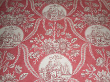 Vintage French Neo Classic Toile Cotton Fabric with Cherubs ~ Rose Red Eggplant
