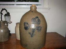 ANTIQUE BLUE DECORATED STONEWARE JUG / Beaver County Pa