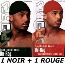 * BANDANA SATIN NOIR + ROUGE DURAG DU-RAG CAPS DANSE HIP HOP BREAK WAVE RAP CAP
