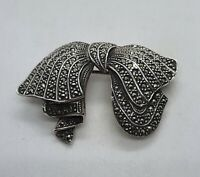 Vintage Sterling Silver Marcasite Bow Brooch Pin