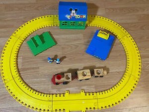 Mattel 1972 Vintage Disney MICKEY MOUSE TOWN Train Set (as Pictured)