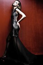 $658 BCBG Marielle Black Python Sequins Evening Gown Dress Size Large L 12 10