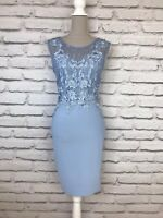 Lipsy Pale Blue Lace Detail Sleeveless Bodycon Occasion Party Dress UK 12