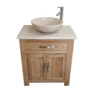 Bathroom Vanity Unit | Solid Oak Cabinet | Travertine Top & Travertine Basin Set