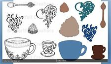 Heartfelt Creations Stamp/Die Combo~ COFFEE TALK ~ Cup, Sentiments ~ Coffee Talk