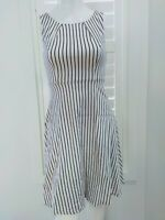 PORTMANS Black And White Pinstripe Print Dress Size 6 XS Work Casual Party Fun