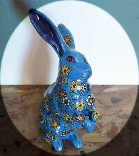 Jolie céramique ancienne, lapin en émaux bleus de Louvière (style Longwy).