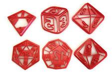 RPG Role Playing Game dice cookie cutter set D4 D6 D8 D10 D12 D20