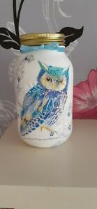 Beautiful Decoupaged 1l Owl Kilner Jar