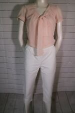 Front tie blouse in white and soft blush in sizes 8-18uk