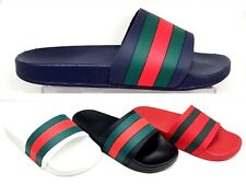 LADIES WOMENS FLAT SLIP ON DESIGNER STRIPED FLIP FLOP SLIDERS MULES SANDALS SIZE