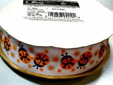 "1 1/2"" Lady Bug Grosgrain Ribbon White Printed Yellow Black Offray USA 50 yds"