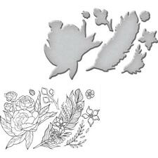 Feather Flower Rubber Stamp Die Cutting Dies Set Spellbinders Sds-038 New