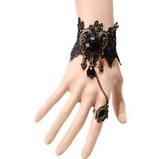 Gothic Women Lace Flower Hand Slave Harness Bracelet Chain Ring Jewelry Eager