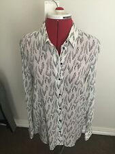 Witchery Size 10 White Print Button Through Shirt Rrp $100