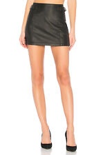 $78 FREE PEOPLE FP Sexy Buckled Faux Leather Mini Skirt Womens sz 4 Black 10A02