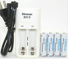 4pcs Etinesan 3.2v 1500mAh AA LiFePo4 lithium rechargeable battery+ charger