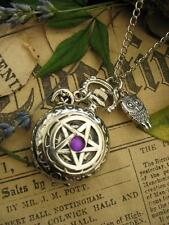 Antique Pentacle Pocket Watch Wicca Necklace  Goth Silver Magic  Pagan Fantasy