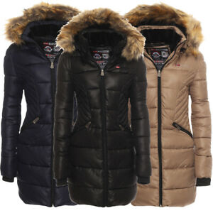 Geographical Norway Donna All'Giacca Parka Lungo Cappotto Giacca Invernale