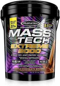 MuscleTech Mass-Tech Extreme 2000 Protein Powder-Triple Chocolate Brownie-22 Lbs