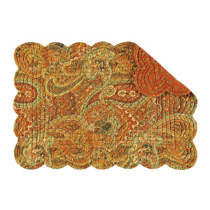 TANGIERS Fall Quilted Reversible Placemat by C&F - Rust, Gold, Green Paisley