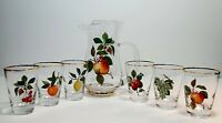 Mid Century West Virginia Water Pitcher & 6 Glasses with Fruit Motif & Gold Trim