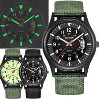 Men's Nylon Strap Band Watch Men Boy Military Army Date Quartz Wrist Watch Gift