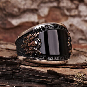 Black Onyx Silver Men Statement Ring Unique Turkish Ottoman Empire Male Jewelry