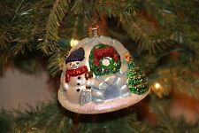 *Snowman on Igloo* Tree RARE! [46052] Old World Christmas Glass Ornament - NEW