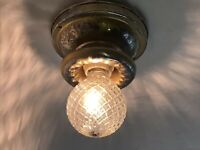 Antique Vtg Art Deco Flush Mount Ceiling Wall Light Fixture Gold Silver 30s 40s