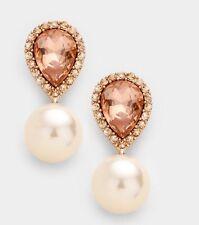 "1.5"" Drop Pearl Long Champagne Peach Rose Gold Crystal Rhinestone Earrings"