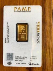5g PAMP Suisse Veriscan Certified Gold Bar  99.99% Fine