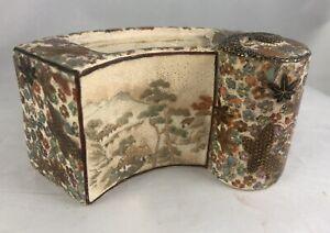 Fine & Unusual Antique Japanese Satsuma Scroll shaped Box missing lid Signed