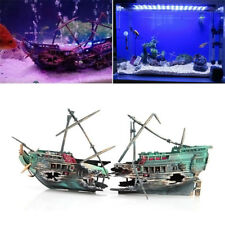 Aquarium Decorations Wreck Sunken Ship Aquarium Plastic Boat Well Fashion GO9