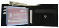 Mens Bifold Leather Snap Coin Pocket Credit Card Wallet with Free Photo Inserts
