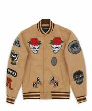 New Reason Fearless Bomber Varsity Jacket Wool Tan Men's Size Large $160